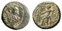 "Ancient Coins - Syria, Antioch (Seleucis ad Pieria) AE Dichalkon ""Zeus Bust & Zeus Seated"" VF"
