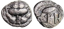 "Ancient Coins - Bruttium Rhegion Silver AR Litra ""Facing Lion Scalp & Olive Leaves""  VF"