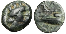 "Ancient Coins - Phoenicia, Arados AE16 ""Tyche & Prow of Galley, Athena Fighting Atop' VF"