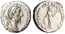 "Ancient Coins - Commodus Silver Denarius ""Fides With Corn Ears & Plate of Fruit"" RIC 75 Scarce"