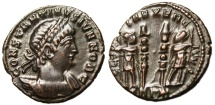 "Ancient Coins - Constantine II Caesar AE3 ""GLORIA EXERCITVS Two Soldiers"" Trier RIC 545 VF"