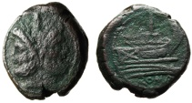 "Ancient Coins - Roman Republic Anonymous AE As ""Janus & Prow"" Rome 211-206 BC"