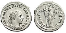 """Ancient Coins - Philip I AR Antoninianus """"FELICITAS TEMP Felicitas, Caduceus"""" Rome IC 31 EF"""