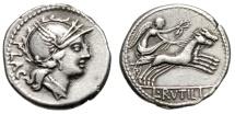 "Ancient Coins - L Rutilius Flaccus AR Denarius ""Roma & Victory Driving Biga"" Rome 77BC Nice VF"