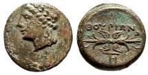 """Ancient Coins - Lucania, Thurium AE15 """"Apollo Left & Thunderbolt"""" Scarce EF"""