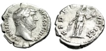 "Ancient Coins - Hadrian Silver Denarius ""FIDES PVLBICA FIdes, Basket of Fruit"" Nice Portrait nEF"