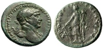 "Ancient Coins - Trajan AE As ""SPQR OPTIMO PRINCIPI Fortuna, Fortune"" Rome 107 AD RIC 500"