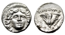 "Ancient Coins - Caria, Rhodes Silver Drachm ""Helios & Rose, Club"" Very Rare Type Choice EF"