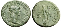 "Ancient Coins - Domitian AE As ""MONETA AVGVSTI Moneta, Deity of Money"" Rome RIC 408 gF Green"