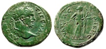 "Ancient Coins - Geta AE30 ""Mature Bust & Hygeia"" Thrace, Serdica Brilliant Green Patina VF Scarce"