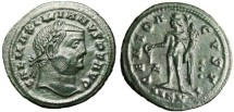 "Ancient Coins - Galerius AE Follis ""Genius, Three Pellets"" Cyzicus RIC 65 Green Patina"