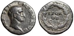 "Ancient Coins - Galba AR Denarius ""SPQR OB CS Oak Wreath"" Rome 68-69 AD Rare Good Fine"