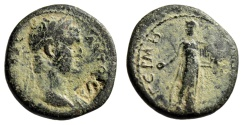"Ancient Coins - Titus AE20 of Mysia, Germe ""S Countermark & Apollo, Lyre"" Scarce Fine"