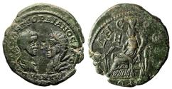 "Ancient Coins - Gordian III & Tranquillina AE27 of Odessos ""Portraits & Tyche Seated"" Good VF"