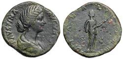 "Ancient Coins - Faustina II Junior AE Sestertius ""DIANA LVCIFERA Diana Holding Torch"" Good Fine"