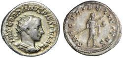 "Gordian III AR Antoninianus ""SAECVLI FELICITAS Spear & Globe"" Antioch RIC 216"