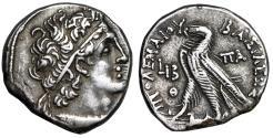 "Ancient Coins - Ptolemaic Kingdom: Cleopatra III & Ptolemy X AR Tetradrachm ""Eagle"" Year 12 gVF"