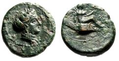 "Ancient Coins - Bruttium, Terina AE16 ""Nymph & Nike Seated on Cippus"" Good VF Scarce"