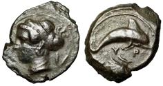 "Ancient Coins - Sicily, Syracuse AE Hemilitron ""Arethusa & Dolphin, Shell"" Good VF"