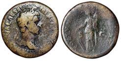 "Ancient Coins - Nerva AE Sestertius ""FORTVNA AVGVST SC Fortuna"" Rome 97 AD RIC 83"