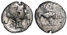 """Ancient Coins - Marc Antony AR Quinarius """"Fulvia Portrait & Lion"""" Lugdunum Mint Rare"""