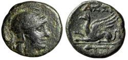 "Ancient Coins - Troas, Assos AE16 ""Helmeted Athena & Griffin Lying, Thyrsus"" VF"