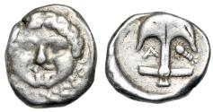 "Ancient Coins - Thrace, Apollonia Pontika AR Drachm ""Facing Gorgoneion & Anchor, Crayfish"" VF"