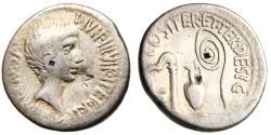 "Ancient Coins - Octavian Silver AR Denarius ""Emblems of Augurate & Pontificate"" nVF Rare"