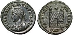 """Ancient Coins - Constantius II AE19 """"PROVIDENTIAE CAESS Campgate, Pellet"""" Heraclea RIC 97 gVF"""