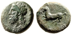 """Ancient Coins - Sicily, Syracuse AE Dilitron """"Zeus Eleutherios & Horse Galloping"""" VF"""