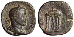 """Ancient Coins - Trebonianus Gallus AE Sestertius """"Round Distyle Temple"""" Rome RIC 110"""