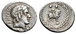 "Ancient Coins - MN Fonteius CF AR Denarius ""Vejovis & Infant Genius on Goat, Caps"" 85 BC nEF"