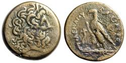"Ancient Coins - Ptolemaic Kingdom: Ptolemy III Eurgetes AE38 Hemidrachm ""Zeus Ammon & Eagle"" VF"