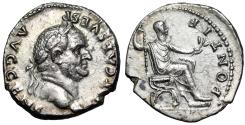 "Ancient Coins - Vespasian AR Denarius ""PONTIF MAXIM Seated"" Rome 73 AD About EF"