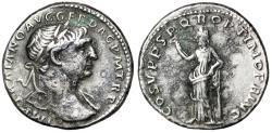 "Ancient Coins - Trajan AR Denarius ""Felicitas, Caduceus & Column"" 103-111 AD Rome Mint VF"