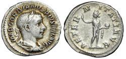 "Ancient Coins - Gordian III AR Denarius ""AETERNITATI AVG Sol, Globe"" Rome RIC 111 aVF"