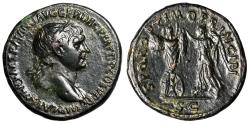 """Ancient Coins - Trajan AE As """"Victory Setting up Trophy of Arms"""" 103-111 AD Good VF"""