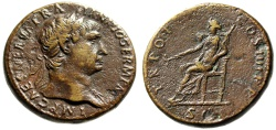 """Ancient Coins - Trajan Sestertius """"Pax Seated, Holding Branch"""" Rome 99-100 AD RIC 413 VF"""