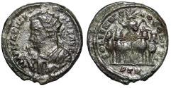 """Ancient Coins - Galerius Billon Argenteus """"SOLI INVICTO COMITI Sol in Facing Quadriga"""" Very Rare"""