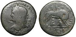 """Ancient Coins - Caracalla AE33 of Tarsos, Cilicia """"She Wolf Suckling Romulus & Remus"""" Scarce"""
