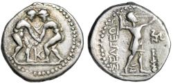 """Ancient Coins - Pisidia, Selge AR Stater """"Two Wrestlers Grappling & Slinger, Triskeles"""" gF Rare"""