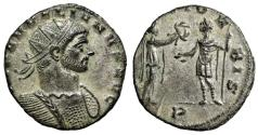 "Ancient Coins - Aurelian Silvered Antoninianus ""RESTITVT ORBIS Woman, Wreath"" Milan RIC 139 EF"