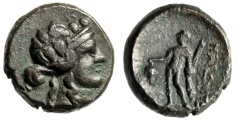 """Ancient Coins - Thrace, Maroneia AE17 """"Wreathed Dionysos & Dionysus With Grapes"""" gVF"""