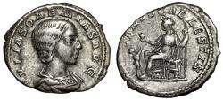 """Ancient Coins - Julia Soaemias AR Denarius """"VENVS CAELESTIS Venus & Cupid"""" Rome 220 AD Good Fine"""