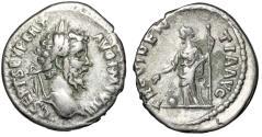 "Ancient Coins - Septimius Severus AR Denarius ""Providentia, Globe at Feet"" Rome RIC 92a Fine"
