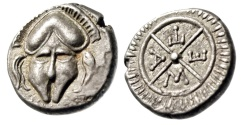 "Ancient Coins - Thrace, Mesembria AR Diobol ""Corinthian Helmet Facing & META Wheel"" EF"