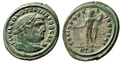 "Ancient Coins - Constantius I Chlorus AE Follis ""Bearded Bust & Genius"" Heraclea RIC 20a VF"
