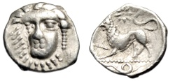 "Ancient Coins - Campania, Phistelia AR Obol ""Female Facing & Lion, Serpent"" Good VF Scarce"