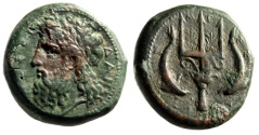 "Ancient Coins - Sicily, Messana AE Dilitron ""Poseidon & Ornate Trident, Dolphins"" Rare VF"