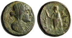 "Ancient Coins - Phoenicia, Marathos AE21 ""Veiled Female (Berenice II?)"" Dated CY 95 165/4 BC aVF"
